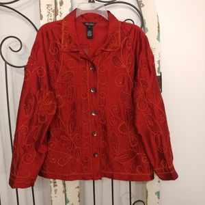 Multiples embroidered long sleeve top large